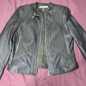 Peter Nygard Gray Faux Leather Jacket